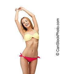 beautiful woman in bikini - bright picture of beautiful...