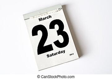 23 March 2013 - calendar sheet