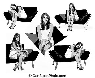 Alter Ego - Beautiful female sits on couch in white dress...