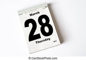 28. March 2013 - calendar sheet