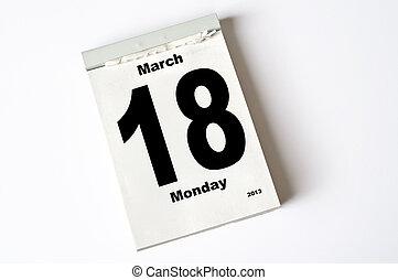 18. March 2013 - calendar sheet