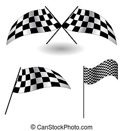 Set of checkered Flags Vector Illustration