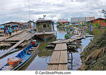 Fishery village and floating house,Thailand