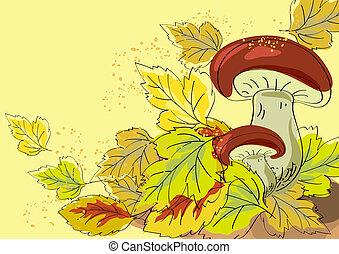Fungus and autumn leaves - Mushroom and autumn leaves on a...