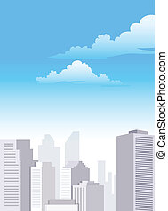 City Skyline - Several buildings standing under the blue...