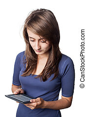e-book - Young woman reading e-book device isolated on white