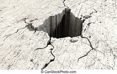 Hole In The Cracked Ground Perspective - An infintiely deep...