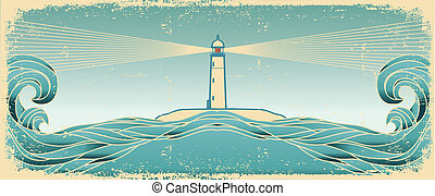 Blue seascape horizon. Vector grunge image with lighthous on...