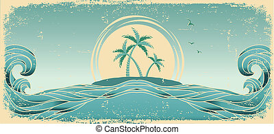 Blue seascape horizon. Vector grunge image with tropical palms on old paper texture