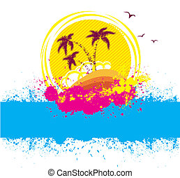 Vector tropical island.Abstract image with grunge elements