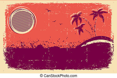 Vector tropical backgroundAbstract grunge illustration on...