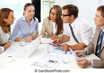 Meeting - Image of confident partners looking at their...