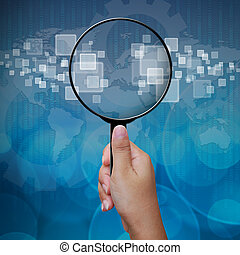 Blank in Magnifying glass screen interface background