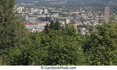 Portland Oregon Cityscape Panning - Panning Scenic View of...