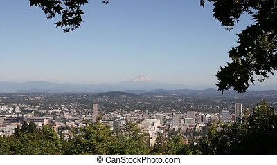 Portland OR City with Mount Hood