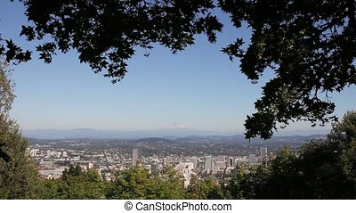 Scenic View of Portland Oregon Cityscape with Mount Hood and...
