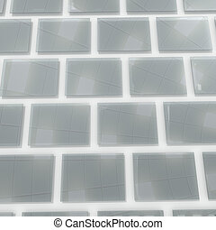 Glass squares on wall