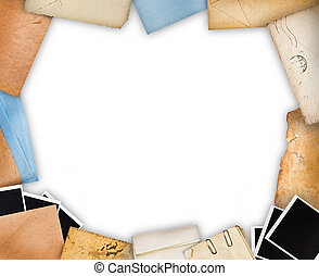 Frame with old paper and instant photos. Objects over white background