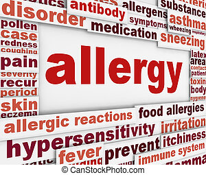 Allergy message background. Hypersensitivity poster...