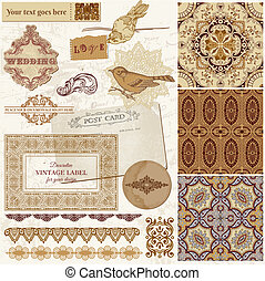 Vintage Wedding Scrapbook Set - Persian Tiles and Birds in...
