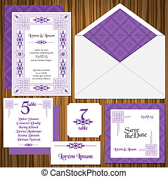 Wedding Invitation Card Set -Classic Style Invitation, table...