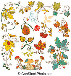 Vector set of decorative Autumn branches, leaves - for...