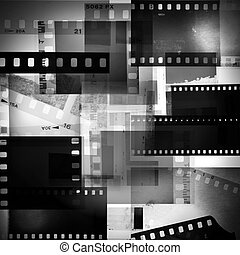 Film negatives overlapping, black and white