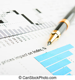 business chart - Pen showing a diagram on a report