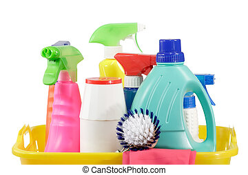 Cleaning bottles - Cleaning supply bottles in a basket,...