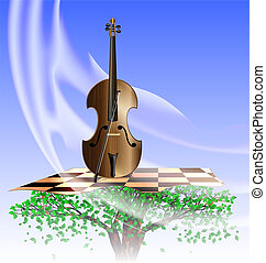 music of wind - in the sky on the abstract tree is stringed...