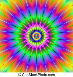 Rainbow Rosette - Digital abstract image with a circular...
