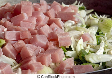 Ham with onion and pepper - Cubes of chopped ham with raw...