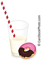 Milk glass and donuts - Scalable vectorial image...