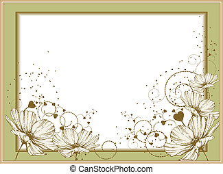 Gold frame with blooming flowers