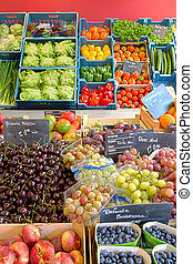 Fruits and vegetable display - Abundant fruit and vegetable...