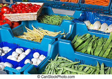 Fresh vegetable display - Colorful vegetable display at a...