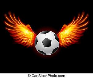 Football-Fiery wings - Raster version. Football-Fiery wings,...