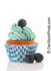 Cupcake with blue berries - Fresh fruit cupcake with blue...