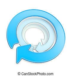 Circular copyspace emblem icon made of three arrows -...