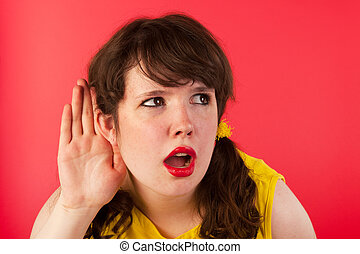 hard of hearing - Young girl cannnot hearing what you say