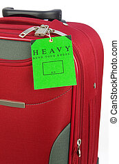 travel bag and heavy tag - red travel bag and a green heavy...
