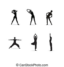 Fitness or yoga women silhouettes. Vector illustration.