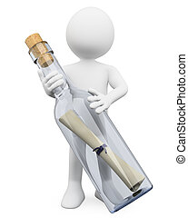 3D white people. Message in a bottle - 3d white person with...