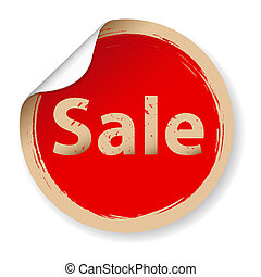 Vintage Red Label Sale, Isolated On White Background, Vector...