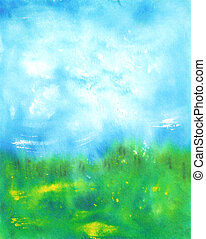 Abstract hand drawn watercolor background: summer landscape with blue sky, green grass and small yellow flowers
