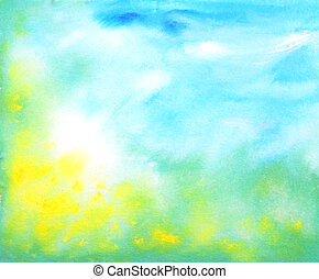 Abstract hand drawn watercolor background: summer landscape with blue sky, green grass and yellow flowers