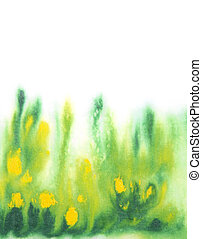 Abstract hand drawn watercolor background: green grass and yellow flowers