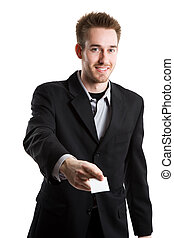 Businessman with business card - An isolated shot of a...