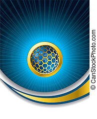 Abstract blue brochure with hexagon button