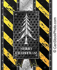 Metallic christmas card with grunge industrial design